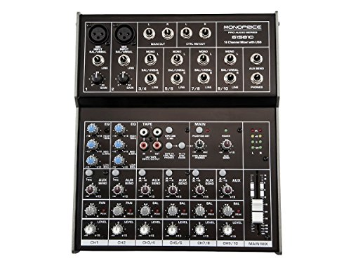Monoprice 10-channel Mixer with USB - 10 Channel Audio