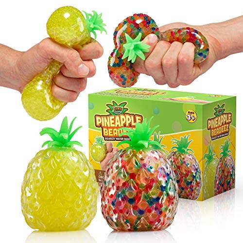 YoYa Toys Beadeez Squishy Pineapple Stress Balls Toy (2-Pack) Tropical Fruit with Colorful, Gel Water Beads - Squeeze, Pull, and Stretch Promote Stress Relief, Calm Focus - Kids and Adults