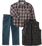 Calvin Klein Little Boys' 3 Pc Vest Set, Black/Cranberry, 3T