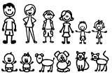 """stick figure decals - Nepa Designs 12 STICK FIGURE FAMILY Your Funny Vinyl Decal Sticker White In Color No Inks 100% Vinyl Range From 5 1/2 """" High By 2 ½"""" Wide, To 3 ½"""" High By 2"""" Wide"""