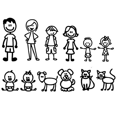 Nepa designs 12 stick figure family your funny vinyl decal sticker white in color no inks 100 vinyl range from 5 1 2 high by 2 ½ wide to 3 ½ high by