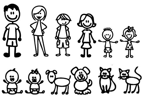 Nepa Designs 12 Stick Figure Family Your Funny Vinyl Decal Sticker White in Color No Inks 100% Vinyl Range from 5 1/2
