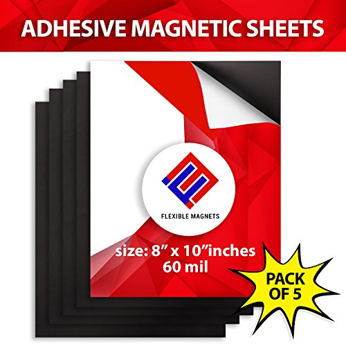 5 Adhesive Magnetic Sheets of 8 x 10 - 60 mil Magnet - Ultra Thick