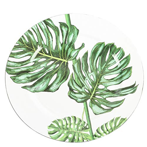 Koyal Wholesale Monstera Tropical Leaf Charger Plates, 4-Pack Palm Leaf Charger Plates, Tropical Leaves Party Plates ()