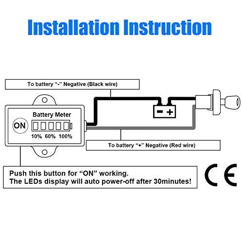 BUNKER INDUST Mini 12V 24V LED Battery Indicator Gauge Meter, Universal Lead-acid Battery Tester for Motorcycle Golf Carts Car Marine ATV by BUNKER INDUST (Image #6)