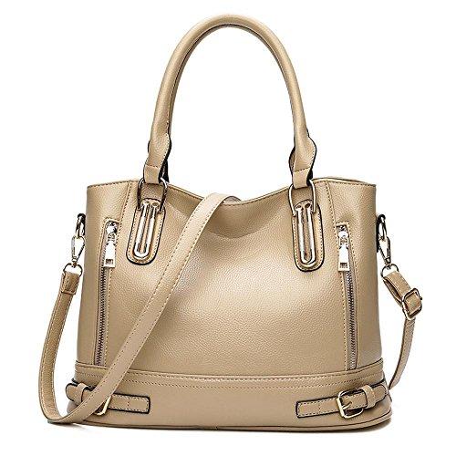 Penao Doble cremallera bolso, señora moda único mensajero bolsa de hombro, tamaño 39cmx15cmx26cm Apricot