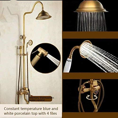 レトロなサーモスタットアンティーク彫刻シャワーセット、銅ヨーロピアンスタイルの蛇口、ブースタースプレーガン