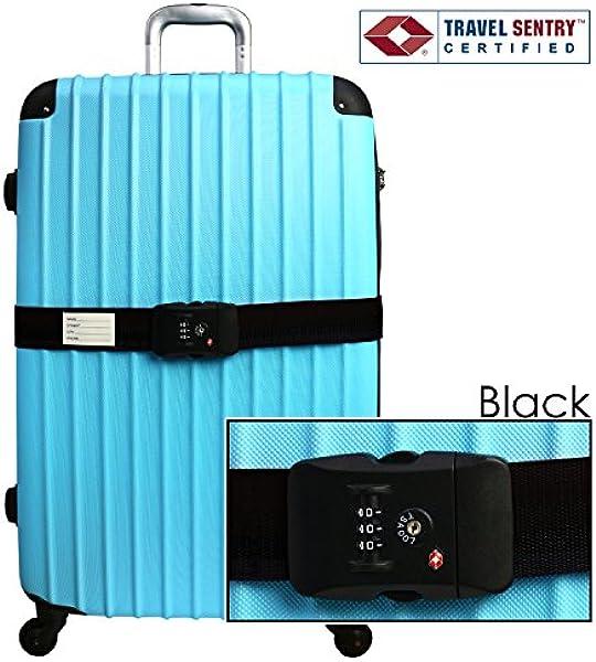 b3f17faa84 DABADA(ダバダ) スーツケースベルト ダイヤル式 TSAロック付き (ブラック, TSA