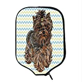 YOLIYANA Yorkie Durable Racket Cover,Cute Brown Yorkie with Even Cuter Buckle on its Head Drawing on Chevron Backdrop for Sandbeach,One Size