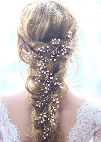 Missgrace Bridal Rose Gold Pearls Long Hair Vine Wedding and Party Headpiece Wedding Hair Accessorices for Bride and Women
