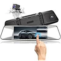 JEEMAK Mirror Dash Cam, 7inch Touch Screen Front and Rear Backup Reverse Camera