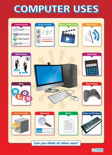 "Computer Uses - Technology and Computing Posters | Classroom Posters for ICT | Gloss Paper - 33"" x 23.5"" 