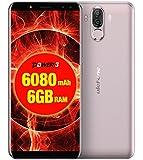 Ulefone Power 3 - FHD 6.0 pollici (rapporto 18: 9) Schermo Corning Gorilla Glass 4 Smartphone Android, Octa Core 2.0 GHz 6 GB + 64 GB, Riconoscimento viso Hi-Fi 4 fotocamera Batteria 6080mAh - Oro