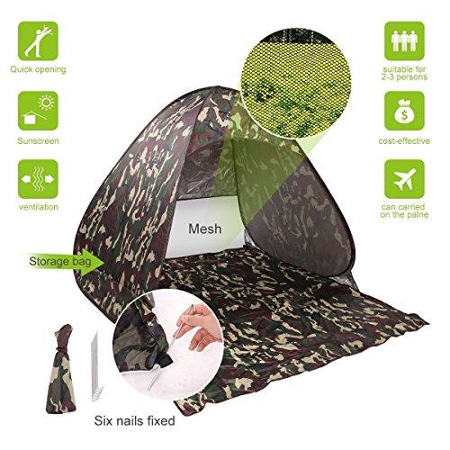 Stoga T5 Schnell Automatische Pop-Up-Zelt Sofort Tragbare Familie Strand-Zelt im Freien 2-3 Personen Camping Fischen picnicing Wandern Sonneschutz f¨¹r Strand, See, Park-Camouflage