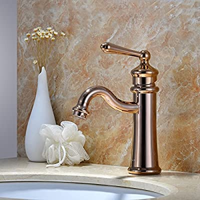Furesnts Modern home kitchen and bathroom faucet Copper antique Contemporary Chrome Polished Bathroom Sink Basin Faucet Single Deck Mounted Mixer Waterfall Tap ,(Standard G 1/2 universal hose ports)