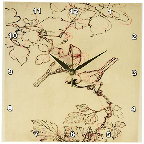 3dRose dpp_173888_1 Image of Two Birds on Grapevine Vintage Wall Clock, 10 by - Grapevine Images