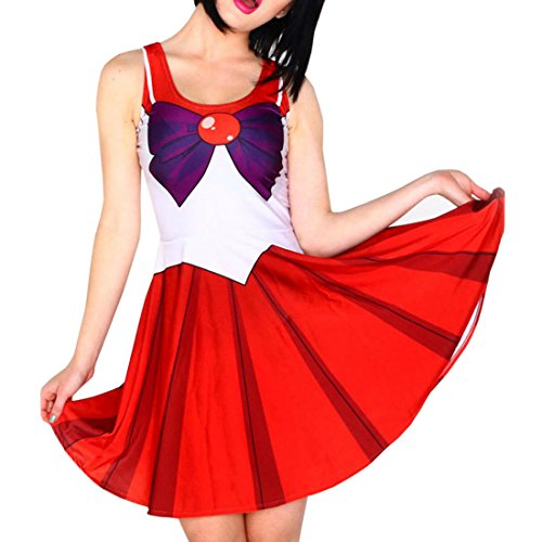 Qushy Sailor Mars Luna Costume Party Cosplay Skater -
