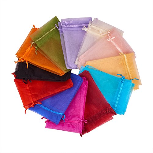 Pandahall 200PCS 4x6 Inches Mixed Color Organza Gift Bags with - Individual Organza Flowers