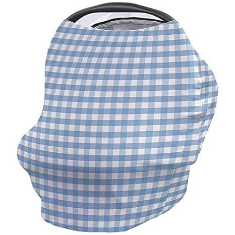 Baby Car Seat Nursing Cover for Breastfeeding Scarf Gingham Blue Buffalo Check Plaid Infant Stroller Cover Ultra Soft Breastfeeding Covers Poncho Canopy for Boy Girl