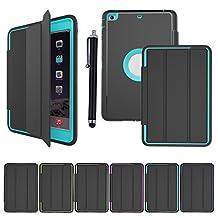 iPad Mini 1/2/3 Smart Cover ,BESDATA [3 In 1] Full Border Hybrid Protective PU+TPU Magnetic [Auto Wake/Sleep Function ] Cases For Apple iPad Mini 1/2/3 +Stylus Pen +Screen Film Protector+Cleaning Cloth (Light Blue)