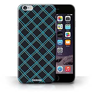 KOBALT? Protective Hard Back Phone Case / Cover for iPhone 6+/Plus 5.5 | Blue/Black Design | Criss Cross Pattern Collection