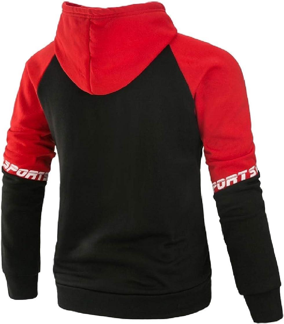 YUNY Mens Hood Oversize Color Splice Outdoor Hoodie Shirt Top Red L