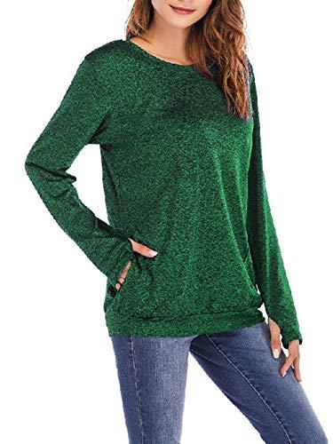 GARYOB Womens Tunic Tops Crewneck Sweatshirts Long Sleeve Pullover Solid Casual T Shirts with Pockets(S-XXXL)