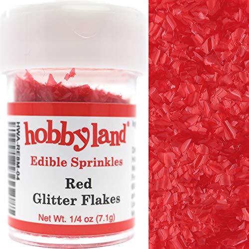 Hobbyland Edible Sprinkles (Red Edible Glitter Flakes, 1/4 oz)