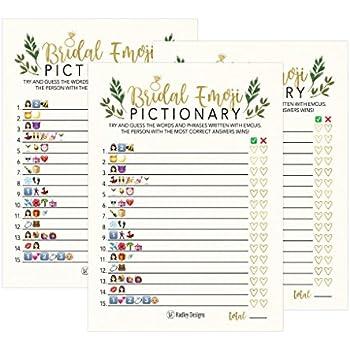 25 floral emoji pictionary bridal shower games ideas wedding shower bachelorette or engagement party for men and women couples cute funny kit bundle set
