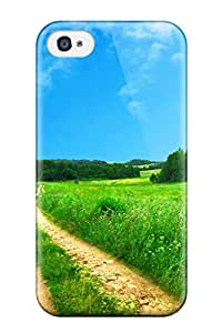 Excellent Design Summer Meadow Road Amp Digital Phone Case For Iphone 4/4s Premium Tpu Case