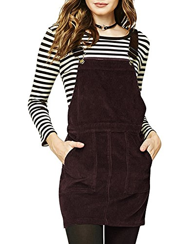 ASMAX Haoduoyi Womens A-line Corduroy Mini Overall Dress(XL,Brown)