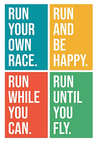 Motivational Running Quote Posters, 11x17 Inches, Set of 4, Cross Country Print, Track and Field Art, Run Decor