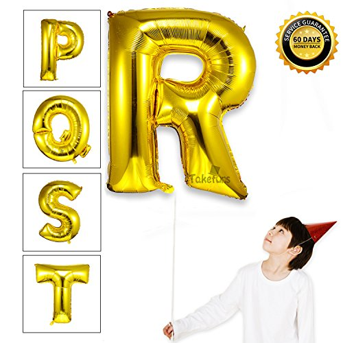 Takefuns 40 Inch Giant Jumbo Helium Foil Mylar Balloons Marquee Letters Gold Alphabet Aluminum Hang Letter Balloons For Birthday Party Decorations,Glossy Gold,Letter R
