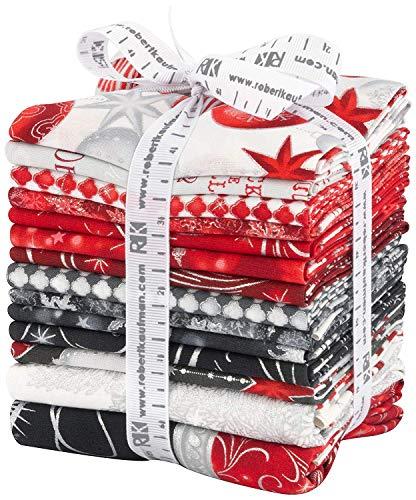 Merry Christmas Fabric (Winter's Grandeur 6 Winter 12 Fat Quarters 2 Panels Robert Kaufman Fabrics FQ-1335-14)