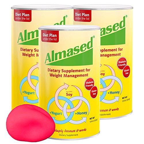 Almased Meal Replacement Shakes -Soy Protein Powder for Weight Loss - Shake for Weight Loss and Meal Replacement - Gluten Free, No Sugar Added (3 pack + Free Stress Ball)