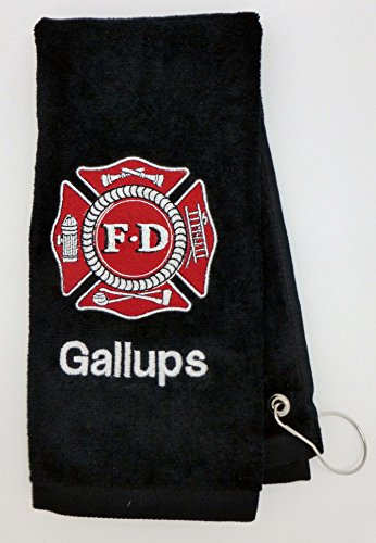 Mana Trading Custom Personalized Embroidered Golf Towel FIRE DEPARTMENT (Black)