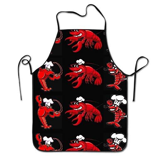 Ashasds Custom Chef Apron Crawfish with Bib Black for Women Men Waitress Baking Crafting Gardening Cooking Girlling Barber - Glitter Black Red Craw