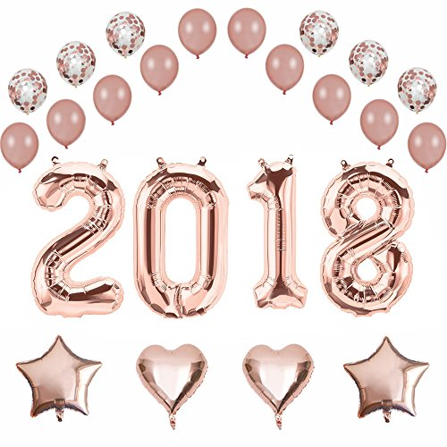 40 Inch 2018 Foil Balloons,Rose Gold Confetti Balloons,Latex Balloons,Hearts,Stars,24 Count,Wedding,Bridal Shower,Graduation Party Decorations Supplies (Rose Gold -