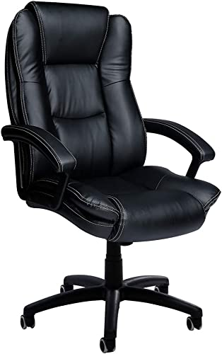 Black Big and Tall Executive Chair High-Level PU Desk Task Leather Thick Padded Ergonomic Chair Rolling Swivel Chair Adjustable Computer Chair