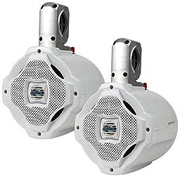 Lanzar AQAWBPR65WT Aquatic Bluetooth Marine Wakeboard Speakers, Active & Passive System, 6.5\