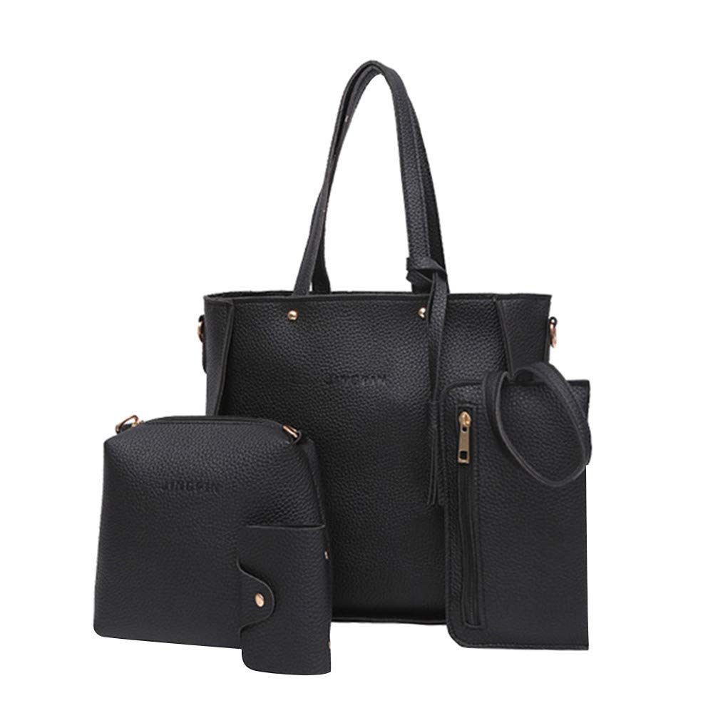 vermers Women Bags Fashion Handbag Shoulder Bags Tote Bag Crossbody Wallet Bags Set 4pcs(Black)