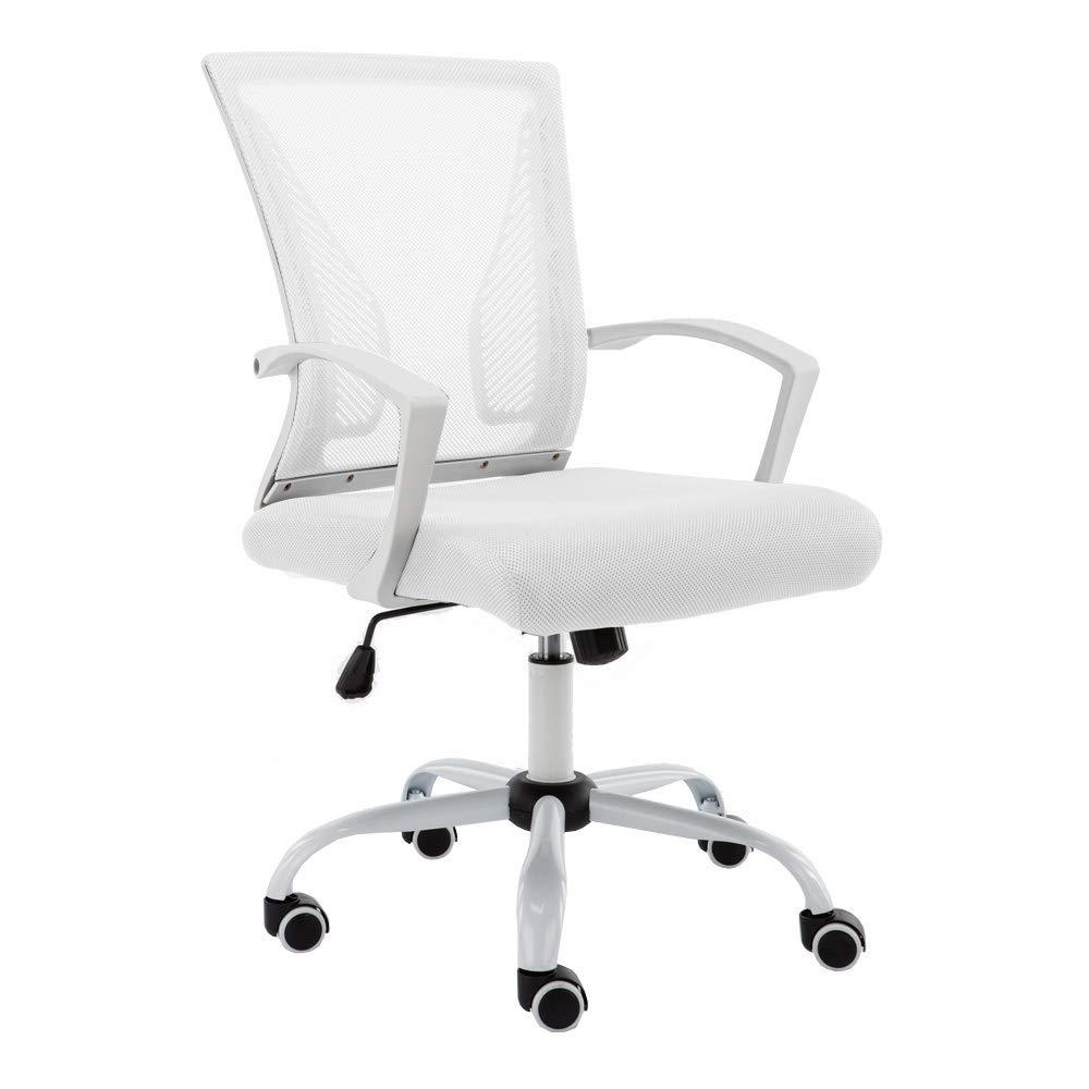 Modern Home WHWHITE Zuna Mid - Back Office Chair, White/White