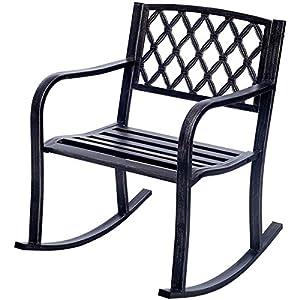 Costway Patio Metal Rocking Chair Outdoor Porch Seat Backyard Glider Rocker Bronze
