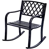 Costway Patio Metal Rocking Chair Outdoor Porch Seat Backyard Glider Rocker Bronze