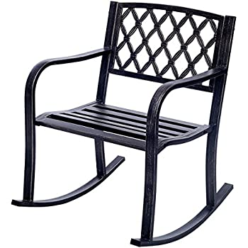 costway patio metal rocking chair outdoor porch seat backyard glider rocker bronze - Patio Rocking Chairs