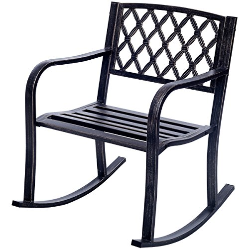 Metal Rocking Chair Porch Seat Deck Outdoor Backyard Glider Rocker