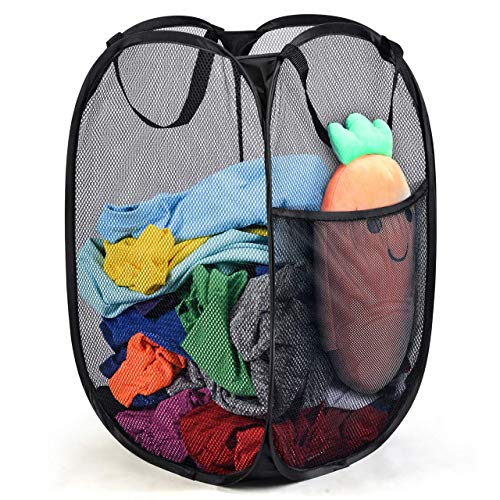 (Green Convenience Strong Mesh Pop-up Laundry Hamper, Laundry Basket with Reinforced Carry Handles Collapsible for Storage and Easy to Open Great for The Kids Room, College Dorm or Travel Black)