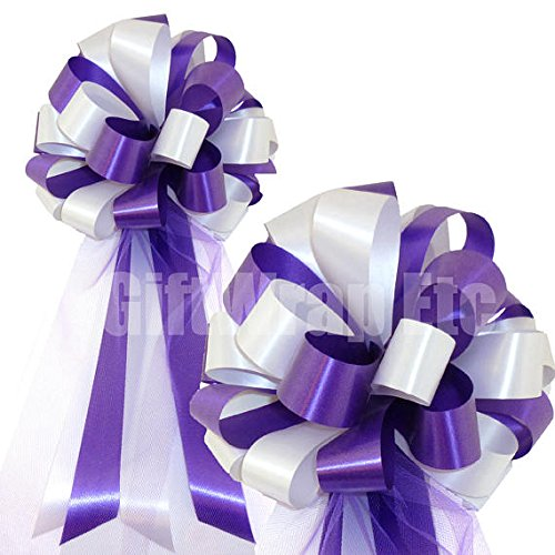 Purple and White Wedding Pew Pull Bows with Tulle Tails - 8
