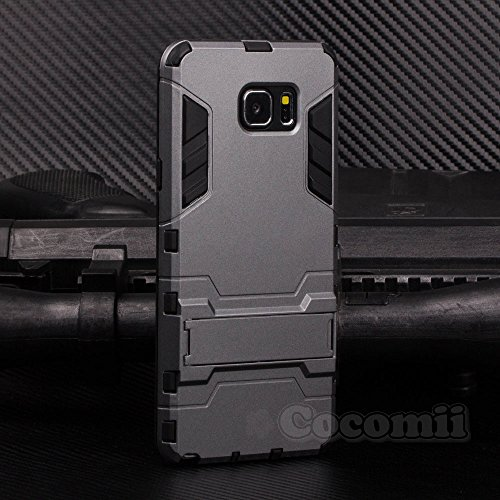 (Cocomii Iron Man Armor Galaxy Note 5 Case New [Heavy Duty] Premium Tactical Grip Kickstand Shockproof Bumper [Military Defender] Full Body Dual Layer Rugged Cover for Samsung Galaxy Note 5 (I.Gray))