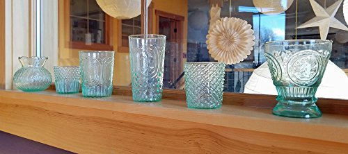 Luna Bazaar Victorian Elegance Vintage Green Glass Candle Holder Set of 6 ...